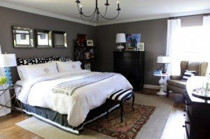 bedroom-decorating-painted-charcoal-gray-walls0white-bedding-black-dresser-decorating-ideas