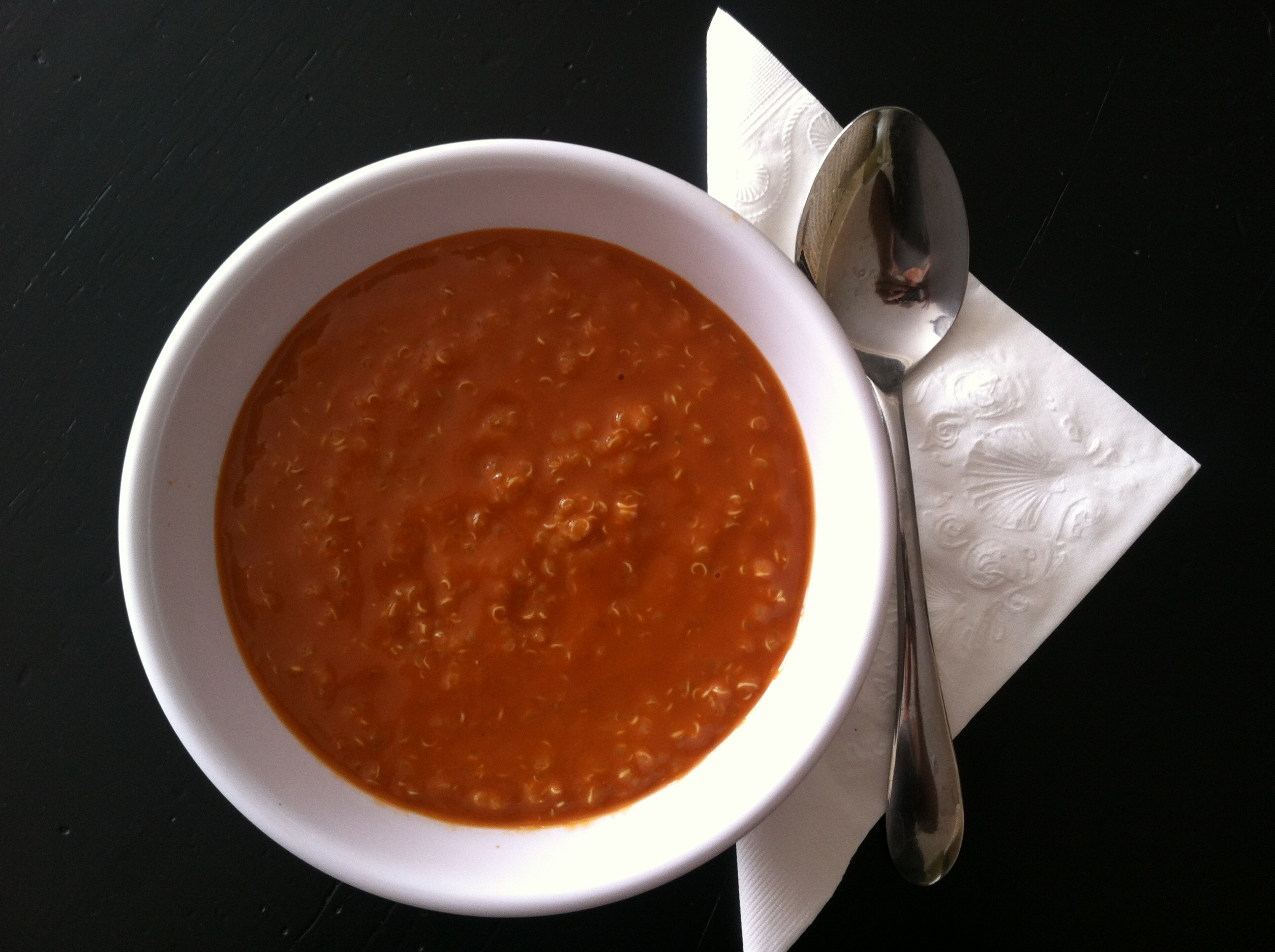 Trader Joe's Tomato and Roasted Red Pepper Soup with added Quinoa