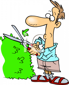 0511-0904-1703-3126_Guy_Trimming_His_Yard_Hedges_clipart_image